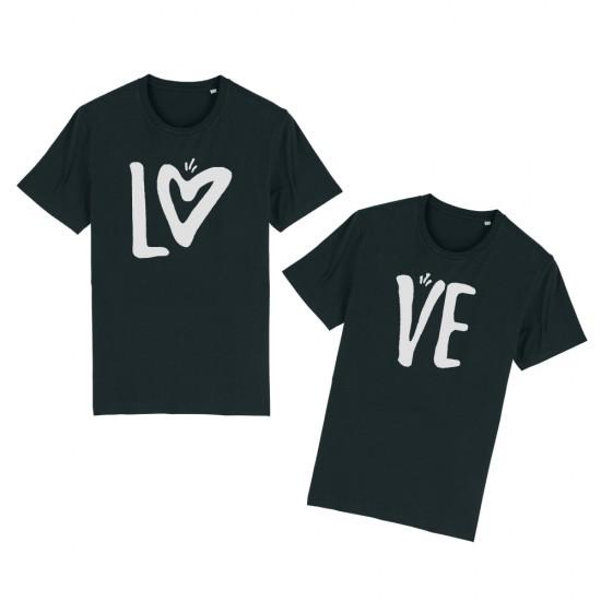 Тениски за двойки с надпис LO-VE