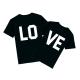 Тениски за двойки с щампа на гърба LO VE