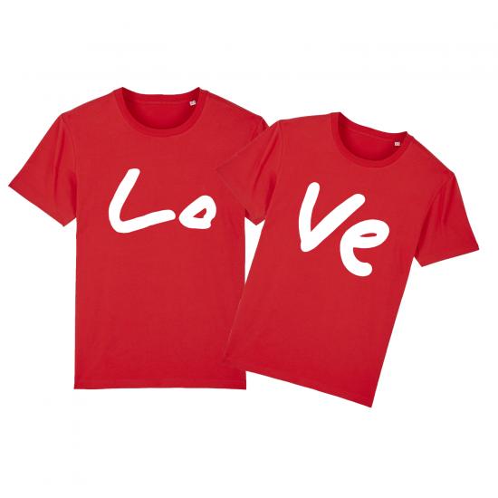Тениски за двойки с щампа LOVE
