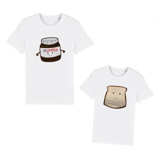 Тениски за двойки с щампа Ти Си Моята Нутела / Филийка