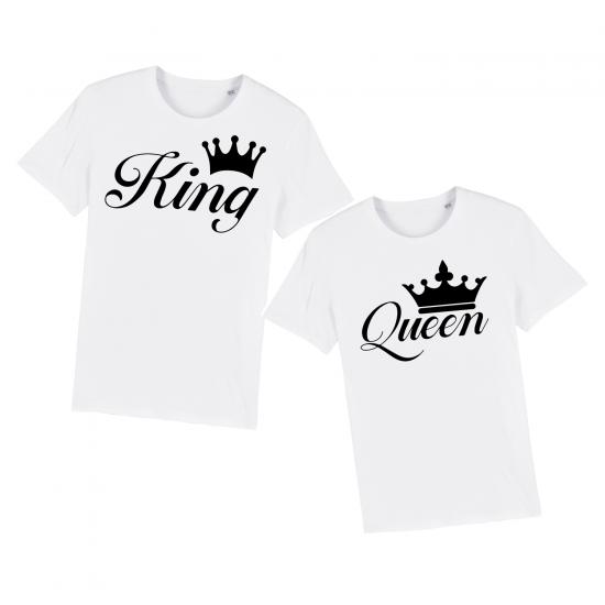 Тениски за двойки с щампа King & Queen