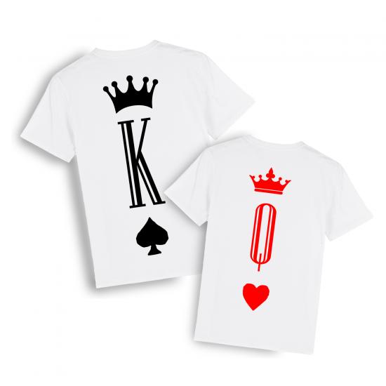 Тениски за двойки с щампа Поп пика и Дама купа