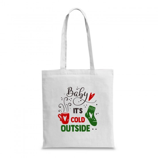 Пазарска торба с коледна щампа BABY IT'S COLD OUTSIDE