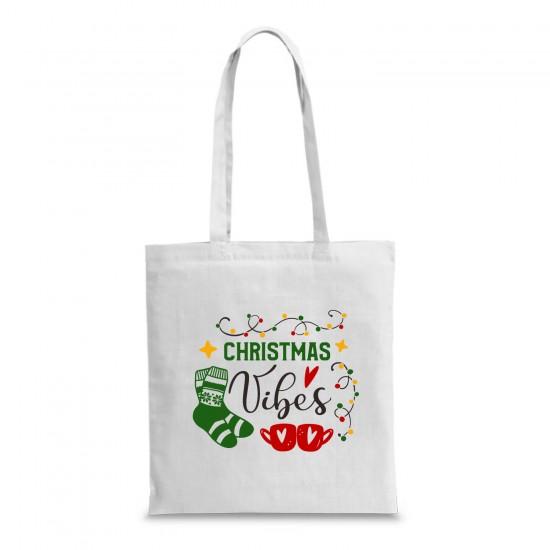 Пазарска торба с коледна щампа CHRISTMAS VIBES