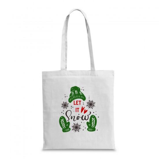 Пазарска торба с коледна щампа LET IT SNOW