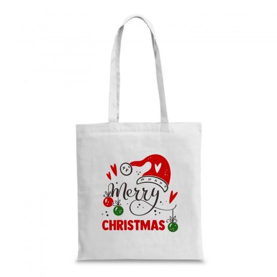 Пазарска торба с коледна щампа MERRY CHRISTMAS
