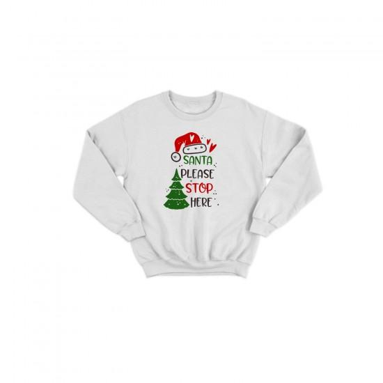 Детска Коледна блуза SANTA PLEASE STOP HERE