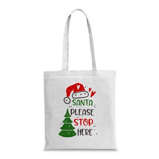 Пазарска торба с коледна щампа SANTA PLEASE STOP HERE