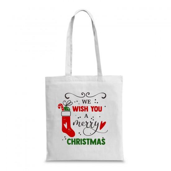 Пазарска торба с коледна щампа WE WISH YOU A MERRY CHRISTMAS