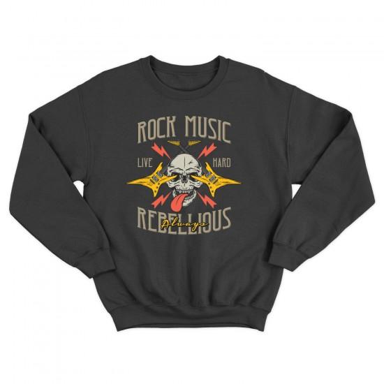 Мъжка блуза с щампа ROCK MUSIC REBELLIOUS