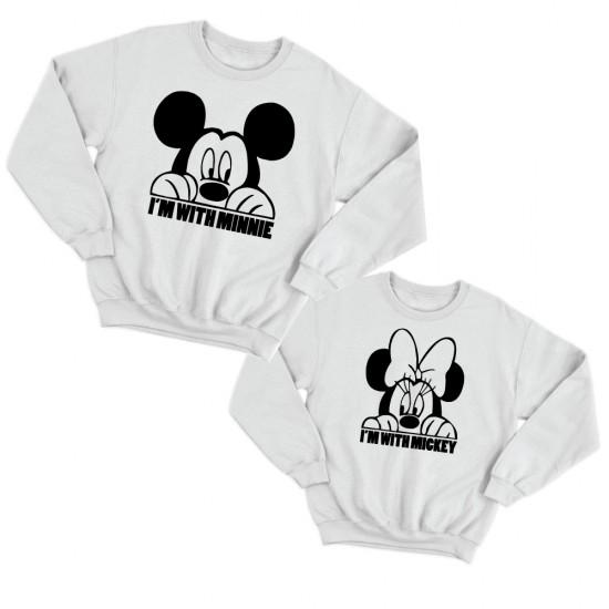 Блузи за двойки с надписи Аз съм с Мини / Аз съм с Мики