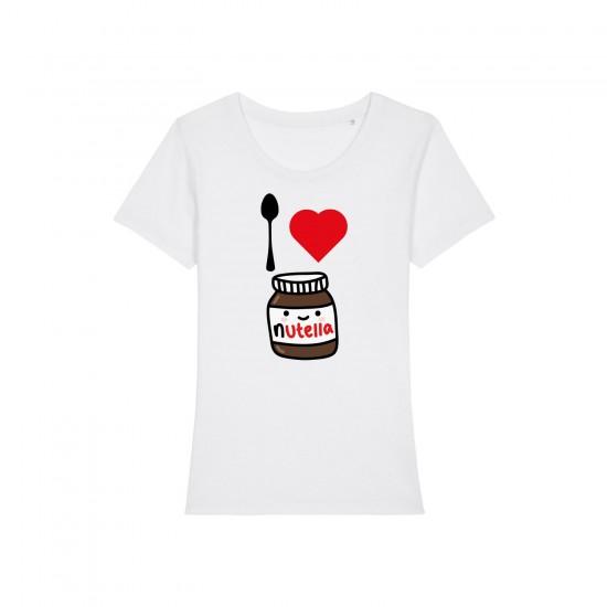 Дамска тениска с щампа I LOVE NUTELLA / ОБИЧАМ НУТЕЛА