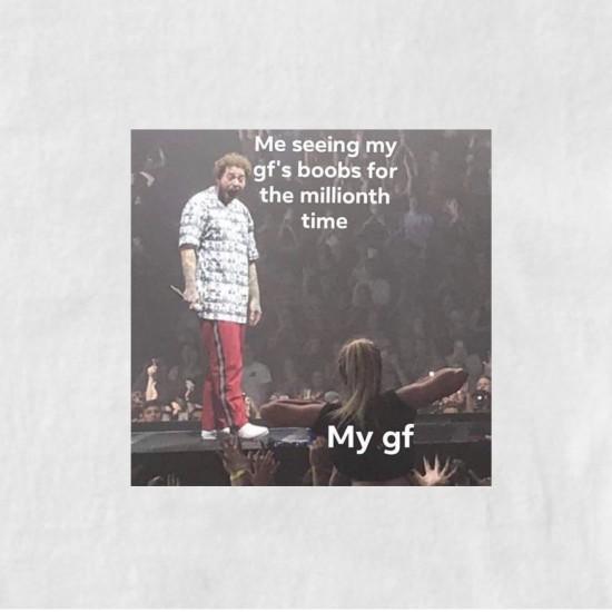 Тениска с меме щампа АЗ КОГАТО ВИДЯ ЦИЦИ ЗА 1000000 ПЪТ