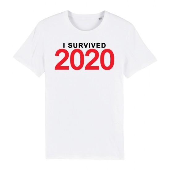Тениска с надпис I survived 2020